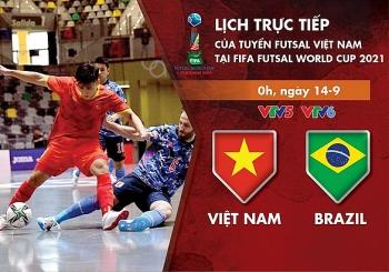 ທິມບານເຕະ Futsal ຫວຽດນາມ ພົບກັບທິມບານເຕະ Brazil ໃນນັດແຂ່ງຂັນທຳອິດຂອງຮອບຊິງຊະນະເລີດ Futsal World Cup 2021